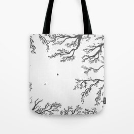 tree branches with birds and leaves on a light background Tote Bag