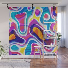 Bright colors paper cut out geometric pattern Wall Mural