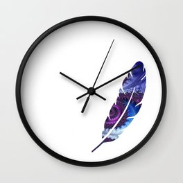 Feathery Flow Feather Cutout - Fractal Art Wall Clock
