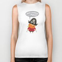 jack sparrow Biker Tanks featuring Jack Sparrow is a PUSSY by Illuzak