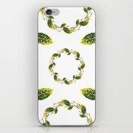 Watercolor green leaf wreath pattern design iPhone Skin