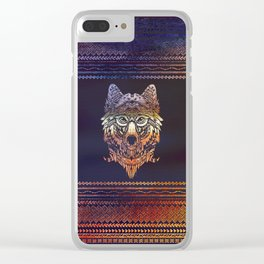 Tribal Wolf Paint Translucent Clear iPhone Case