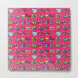 Too Much Catnip (Abstract Neon Psychedelic Cats Contour Art on Pink) Metal Print