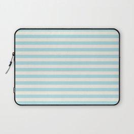 Seafoam Blue Linen Seashell Stripe Laptop Sleeve