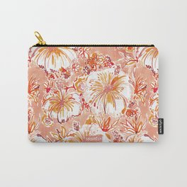 KOMBUCHA-CHA Orange Tropical Hibiscus Floral Carry-All Pouch