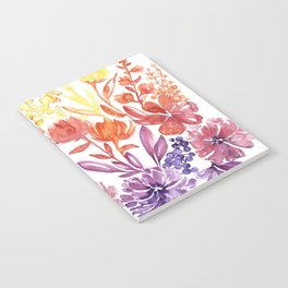 Floral abstract and colorful watercolor illustration Notebook
