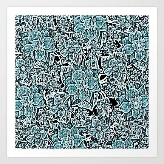 Wildflowers (blue) Art Print