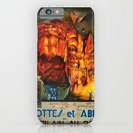 Werbeposter Grottes Et Abime Grotto Cave Of Comblain Belgium Railways iPhone Case