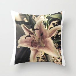 Stargazer Lily In Bloom Throw Pillow