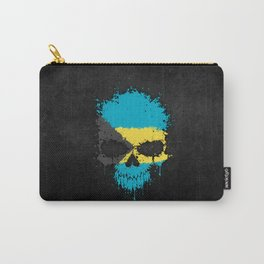 Flag of Bahamas on a Chaotic Splatter Skull Carry-All Pouch