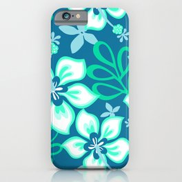 Aqua and White Hawaiian Hibiscus Flower Bloom Pattern on Blue iPhone Case
