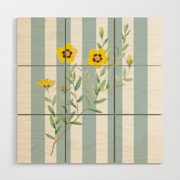 Yellow flowers on blue stripes Wood Wall Art