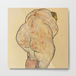 "Egon Schiele ""Female Nude Pulling up Stockings, Back View"" Metal Print"