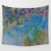 monet Wall Tapestries featuring Wisteria by Claude Monet by Palazzo Art Gallery