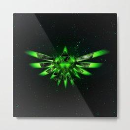 Zelda Triforce Green Space Metal Print