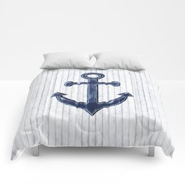 Rustic Anchor in navy blue Comforters