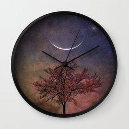 New Moon Blossoms Wall Clock