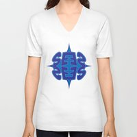 typo V-neck T-shirts featuring Abstract Typo by Ákos Kőrös