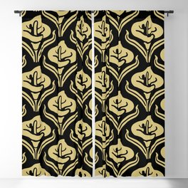 Calla Lily Pattern Black and Gold Blackout Curtain