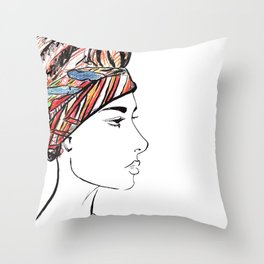 African Turban Chic Throw Pillow