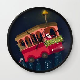 Holly Jolly Trolley Wall Clock