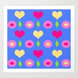 Daisy heart print, blue pink peach Art Print