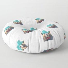 Funny Bear Illustration Floor Pillow