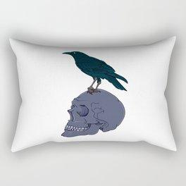 Raven On A Human Skull Rectangular Pillow