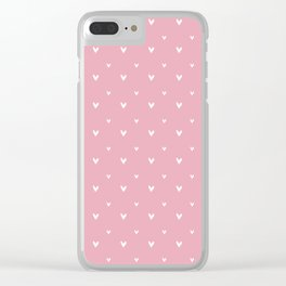 Small sketchy white hearts pattern on pink background Clear iPhone Case