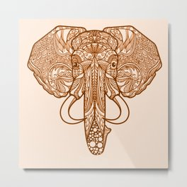 tribal indian henna elephant Metal Print