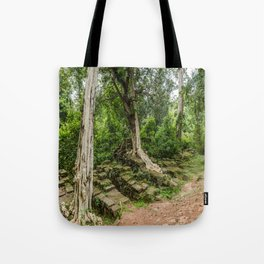 Strangler Fig Trees and Stones in the Angkor Archaeological Park, Siem Reap, Cambodia Tote Bag