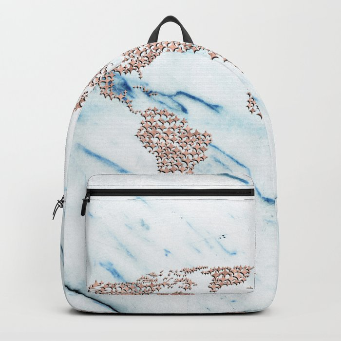 Rosegold Stars on Blue Marble World Map Backpack