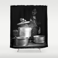 cooking Shower Curtains featuring Cooking in Kathmandu, Nepal by Julian Bound