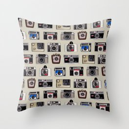 Vintage Cameras - Photography Pattern Throw Pillow