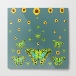 BLUE-GREEN-YELLOW PATTERNED MOTHS YELLOW SUNFLOWERS Metal Print