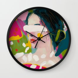 look at me, woman portrait contemporary Wall Clock