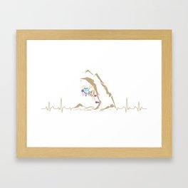 Climbing Climber Mountaineer Mountain Heartbeat Framed Art Print