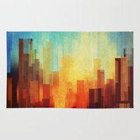 wall clock Area & Throw Rugs featuring Urban sunset by SensualPatterns