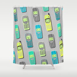 Vintage Cellphone Pattern Shower Curtain