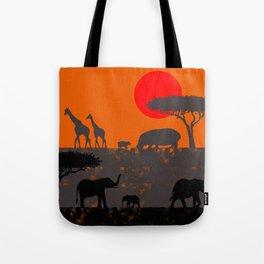 Elephants in the savanna Tote Bag