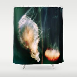 Jellyfish of the Blue-Green Electric Glow Shower Curtain