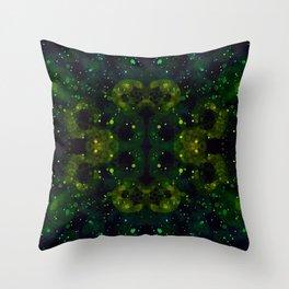 Bubble Galaxy - Yellow-Green Throw Pillow