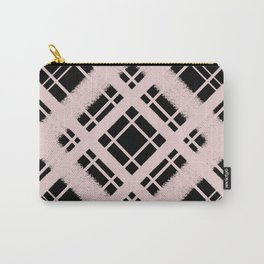 Pastel Pink on Back Plaid Chalk Graphic Design Pattern Carry-All Pouch