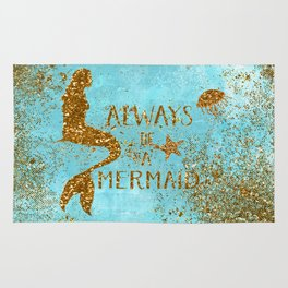 ALWAYS BE A MERMAID-Gold Faux Glitter Mermaid Saying Rug