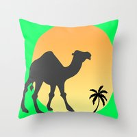 camel Throw Pillows featuring Camel by Geni