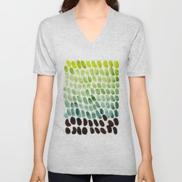 Colorful Watercolor Scales Rainbow Pattern Deep Green Lime Green Unisex V-Neck