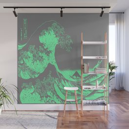 The Great Wave Green & Gray Wall Mural