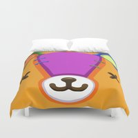 animal crossing Duvet Covers featuring Animal Crossing Stitches the Cub by ZiggyPasta