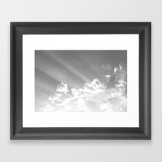 Cotton clouds and sunrays Framed Art Print