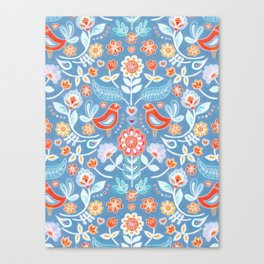 Happy Folk Summer Floral on Light Blue Canvas Print